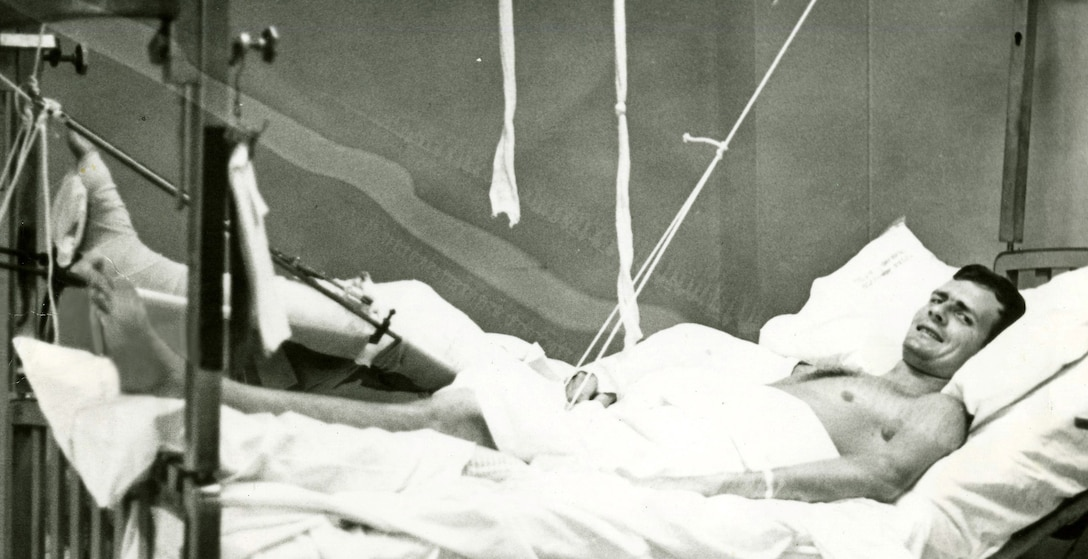 Army Spc. John Fogle recovers at the 249th General Hospital at Camp Drake, Japan, in 1969 from wounds he received in Vietnam. Thanks to the Vietnam Vascular Registry, developed by Dr. Norm Rich of the Uniformed Services University of the Health Sciences, Fogle was recently able to track down the name of the doctors who helped save his life. Photo courtesy of John Fogle