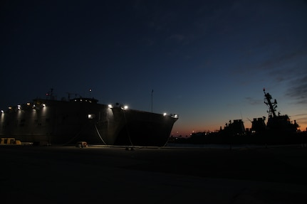 USNS Spearhead pierside.