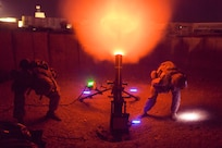 U.S. Marines with Task Force Southwest (TFSW) fire a 120mm mortar as a show of force at Camp Shorab, Afghanistan, March 10, 2018. Approximately 300 Marines with TFSW are deployed to the Helmand province to provide training, advice and assistance to the Afghan National Defense and Security Forces. Marines and the ANDSF work together to expand security and increase stability in Helmand and Nimroz provinces. (U.S. Marine Corps photo by Staff Sgt. Melissa Karnath/Released)