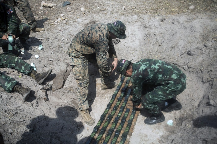9th ESB EOD Marines work alongside Royal Thai service members to dispose of UXO