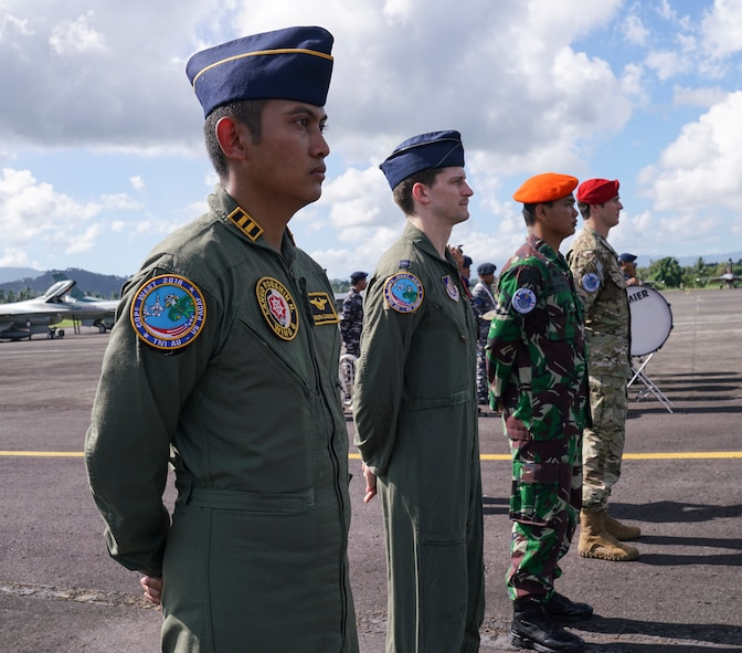 Members from the U.S. Air Force and Indonesian military participate in the exercise Cope West 18 (CW18) opening ceremony at Sam Ratulangi International Airport, Indonesia, March 12, 2018.