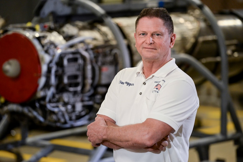 """Dave Duggar, 12th Maintenance Group J-85 propulsion shop supervisor, poses for a portrait Feb. 28 2018, at Joint Base San Antonio-Randolph, Texas.  Duggar oversees the engine shop and test cell ensuring T-38 engines are """"mission ready"""" to conduct daily sorties for the 12th Flying Training Wing. (U.S. Air Force photo by Sean M. Worrell)"""