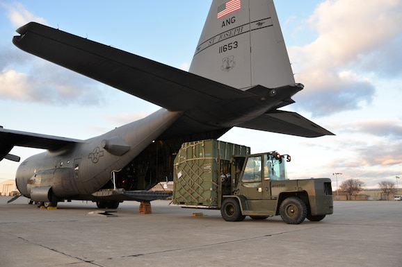 C-130 Hercules aircraft is offloaded
