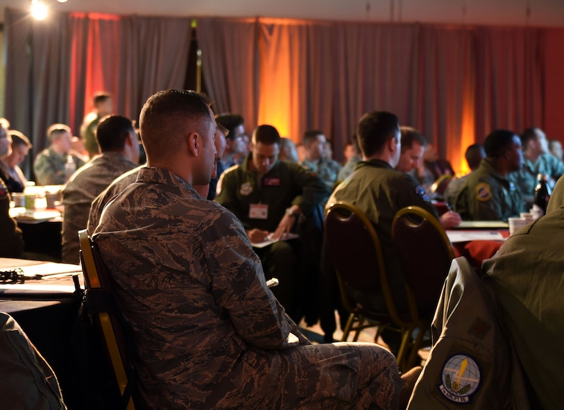 Attendees of the Spark Innovation Summit at Travis Air Force Base, Calif., wait during a pause between briefings March 6, 2018. Among those who attended the summit were members of senior leadership from every MAJCOM in the Air Force. (U.S. Air Force photo by Airman 1st Class Christian Conrad)
