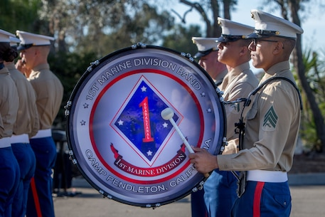 U.S. Marines with the 1st Marine Division Band perform during the unit's 77th anniversary ceremony at Marine Corps Base Camp Pendleton, Calif., Feb. 2, 2018.
