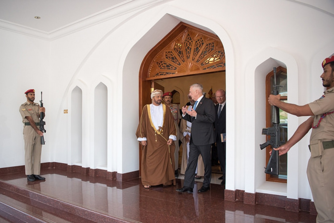 Defense Secretary James N. Mattis meets with Omani Defense Minister Sayyid Badr al Busaidi in Muscat, Oman.