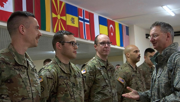 Maj. Gen. Anthony German, New York's adjutant general, spoke with officers and non-commissioned officers of the Simulations Center assigned to the Joint Multinational Training Group-Ukraine on March 8, 2018, in Yavoriv.