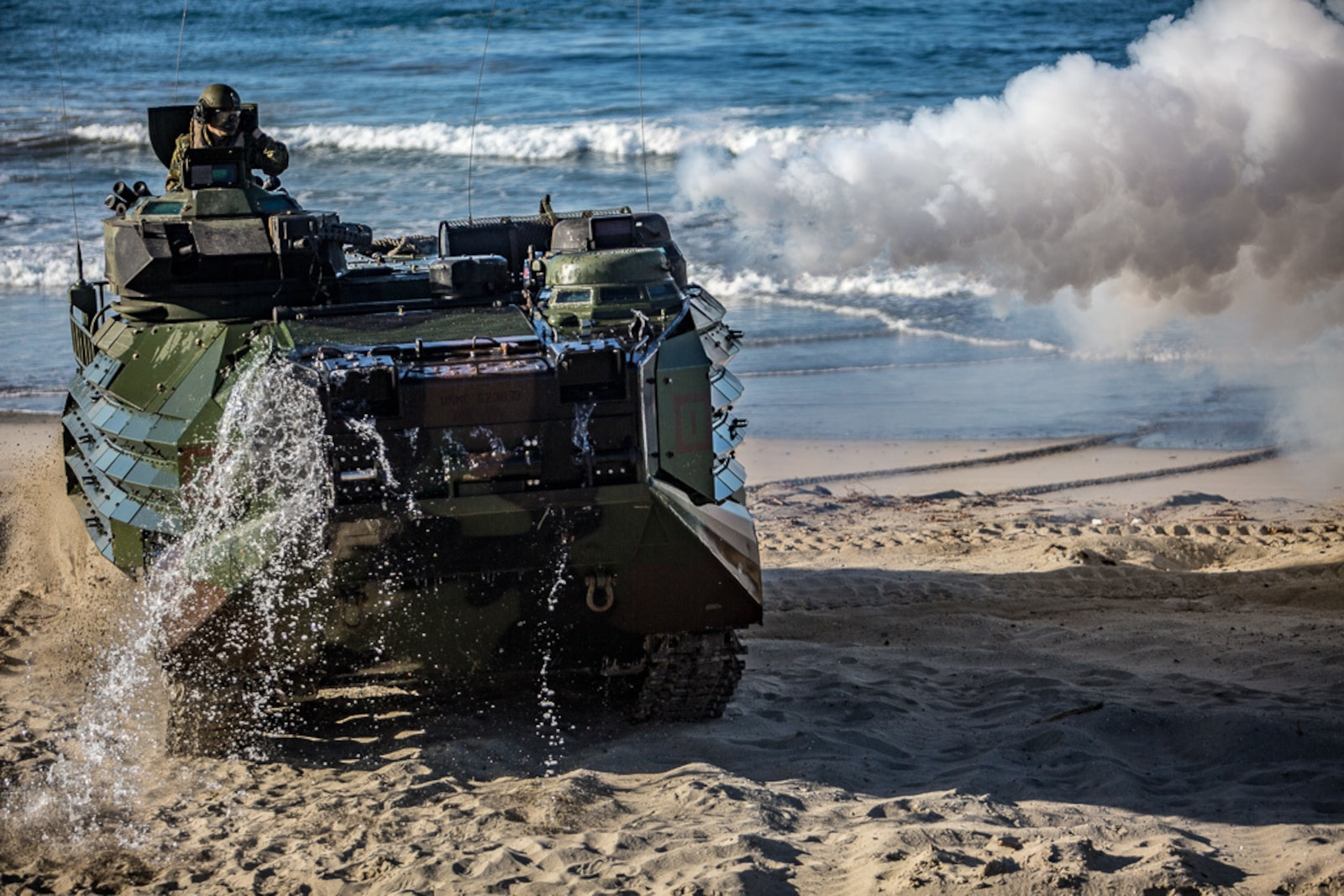 An Amphibious Assault Vehicle with 3rd Assault Amphibian Battalion, 1st Marine Division, lands on Marine Corps Base Camp Pendleton as part of exercise Iron Fist 2018 on Feb. 5.