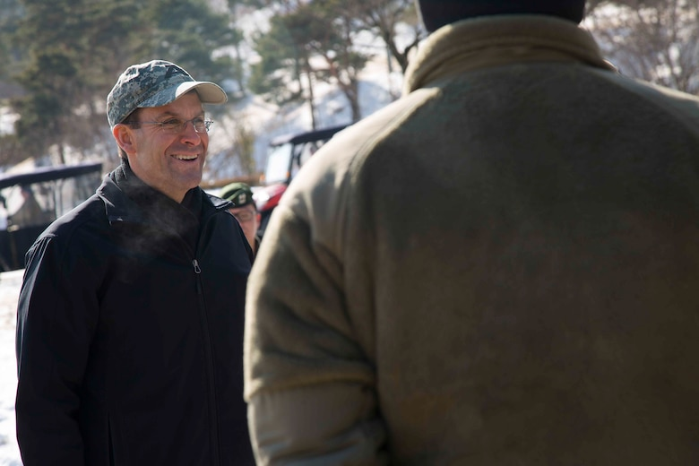 Secretary of the Army Mark T. Esper (left)  talks with Soldiers from Combined Task Force Defender, 35th Air Defense Artillery Brigade, at Seongju, South Korea on Jan. 10, 2018. Esper visited Korea to discuss readiness with units throughout the Korean theater and to inform Soldiers, Families and Civilians on his position and policies as the Secretary of The Army during his three-day visit.