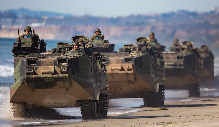 Marines with 3rd Assault Amphibian Battalion, 1st Marine Division and Western Army Infantry Regiment, Japan Ground Self Defense Force Soldiers conduct a mobile beach head patrol during exercise Iron Fist 2018, Jan. 24.