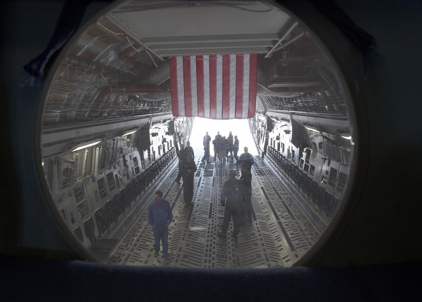 Civilian pilots from Altus tour a C-17 Globemaster III, March 10, 2018, at Altus Air Force Base, Okla.