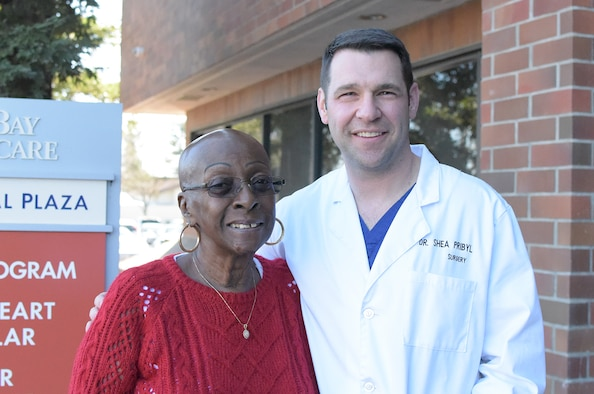 Evelyn Staley, left, poses for a photo with Maj. (Dr.) Shea Pribyl, 60th Medical Group cardiothoracic surgeon, at NorthBay Medical Center in Fairfield, Calif. (Courtesy Photo)