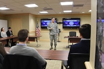 Gen. John Hyten, commander of U.S. Strategic Command (USSTRATCOM), speaks to Notre Dame International Security Center (NDISC) professors and students about 21st century deterrence at Offutt Air Force Base, Neb., March 13, 2018.