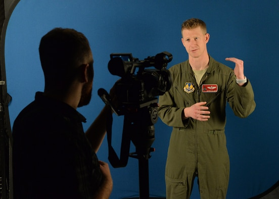 U.S. Air Force Maj. Justin Elliott, Air Force Strategic Policy fellow, was recorded while presenting a briefing at Joint Base San Antonio-Randolph, Texas on Feb. 22, 2018.  Elliott's briefing, sharing an aviator's perspective on physiological events in flight, is now being integrated into student undergraduate pilot training across Air Education and Training Command bases.  (U.S. Air Force photo by Melissa Peterson)