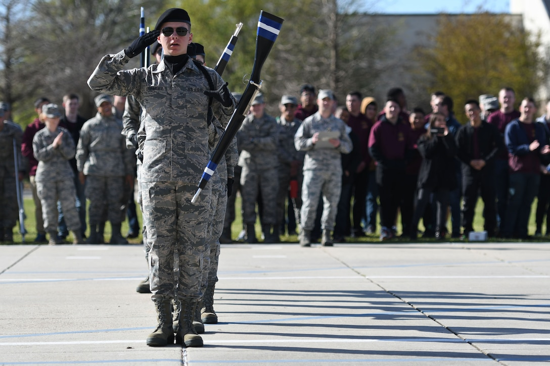 "U.S. Air Force Airman 1st Class Joseph Hasenauer, 334th Training Squadron freestyle drill team drill master, requests permission to exit the field of freestyle drill competition during the 81st Training Group drill down on the Levitow Training Support Facility drill pad March 9, 2018, on Keesler Air Force Base, Mississippi. Airmen from the 81st TRG competed in a quarterly open ranks inspection, regulation drill routine and freestyle drill routine. The 335th TRS ""Bulls"" took first place this quarter. (U.S. Air Force photo by Kemberly Groue)"
