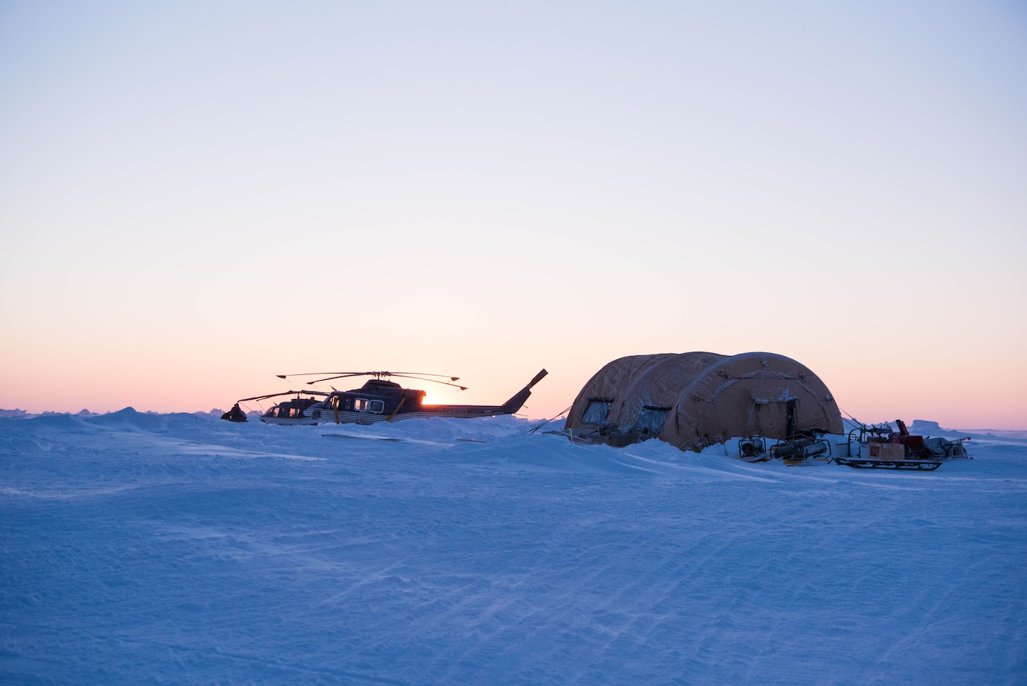 Ice Camp Skate (March 9, 2018) – View of Ice Camp Skate March 9, 2018 in support of Ice Exercise (ICEX) 2018. ICEX 2018 is a five-week exercise that allows the Navy to assess its operational readiness in the Arctic, increase experience in the region, advance understanding of the Arctic environment, and continue to develop relationships with other services, allies and partner organizations. (U.S. Navy photo by Mass Communication 2nd Class Micheal H. Lee)