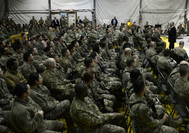 James Mattis, U.S. Secretary of Defense, conducts an all call with the men and women of Bagram Airfield, Afghanistan on Mar. 14, 2018.