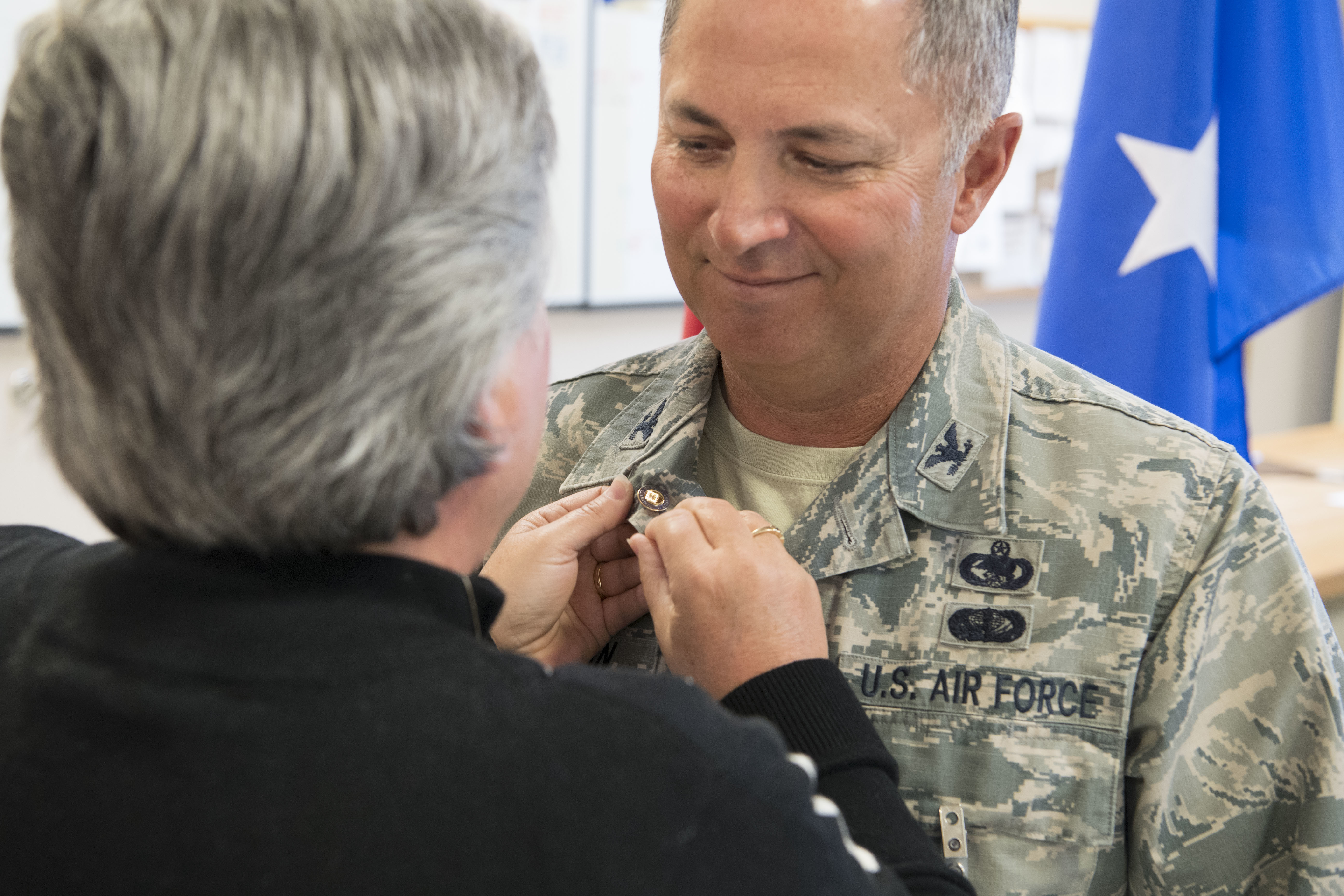 Wing celebrates 37 year career of vice wing commander 130th air force retirement lapel pin to col randy c photo details download hi res 1 of 1 publicscrutiny Choice Image