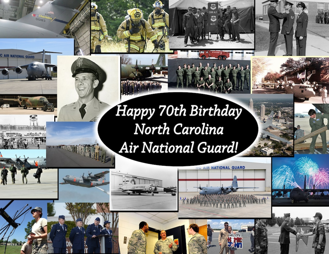 The 145th Airlift Wing celebrates its 70th Birthday on March 15 2018. The unit has a rich history beginning with as a fighter squadron before transitioning to C-130 Hercules and now the C-17 Globemaster III. This image is collection of photos that have been saved throughout the units history.