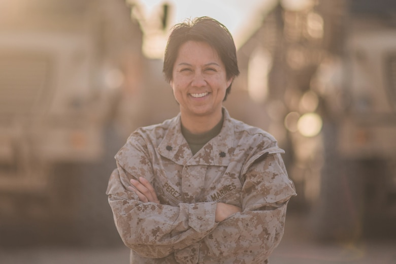 U.S. Marine Lt. Col. Elizabeth D. Perez, the chief of staff for Task Force Southwest, speaks on what it means to be a leader and a woman in the Marine Corps in a combat environment at Camp Shorab, Afghanistan, March 6, 2018. Perez is currently deployed to Helmand province to train, advise and assist the Afghan National Defense and Security Forces to expand the security belt and to deny the enemy freedom of movement around central Helmand.