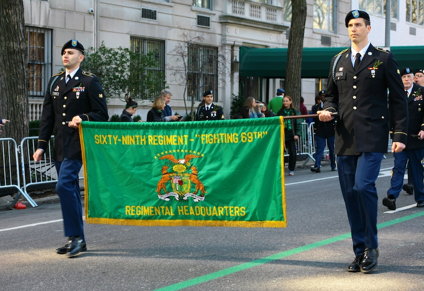 New York Army National Guardsmen from the 1st Battalion, 69th Infantry Regiment, lead the St. Patrick's Day Parade in New York City.