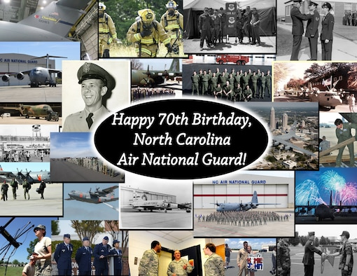 A collage of photos taken from the archives of the North Carolina Air National Guard Public Affairs Office and Heritage Program, depicting multiple generations of the unit, created at the North Carolina Air National Guard Base, charlotte Douglas International Airport, Mar. 14, 2018. The North Carolina Air National Guard was founded on Mar. 15, 1948 as the 156th Fighter Squadron before transitioning to an Airlift Squadron with C-130 Hercules Aircraft and C-17 Globemaster III Aircraft in 2018.