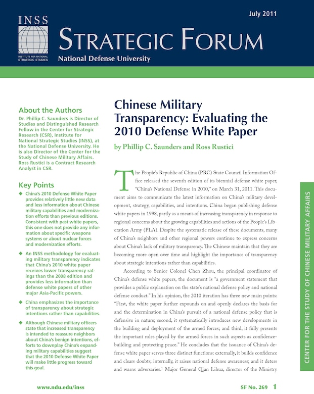 Chinese Military Transparency: Evaluating the 2010 Defense White Paper