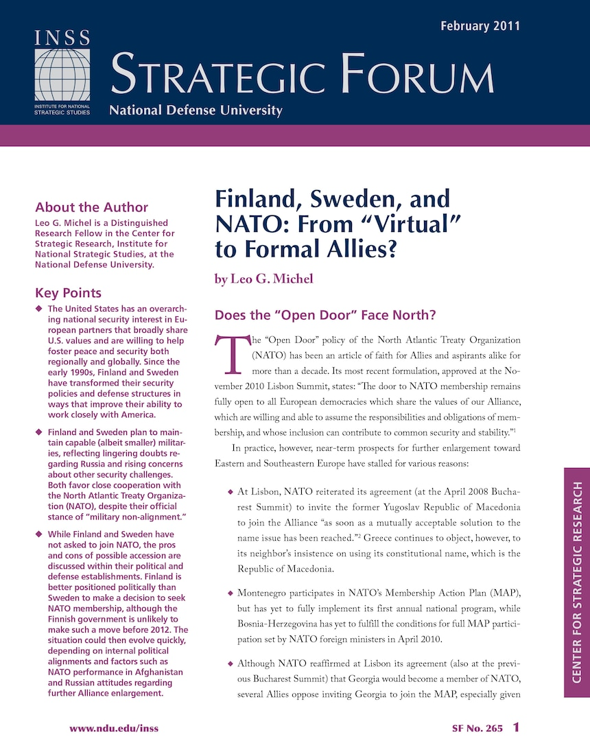 """Finland, Sweden, and NATO: From """"Virtual"""" to Formal Allies"""