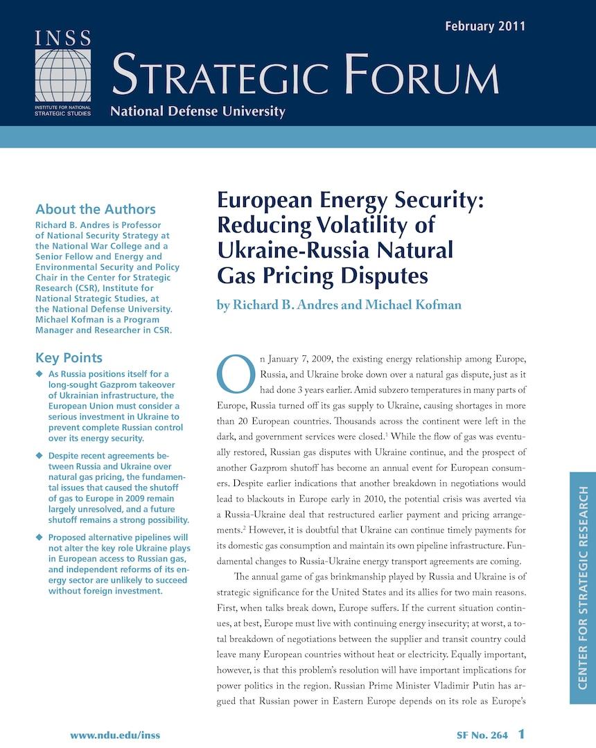 European Energy Security: Reducing Volatility of Ukraine-Russia