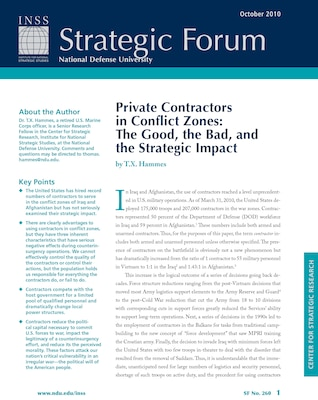 Private Contractors in Conflict Zones: The Good, the Bad, and the Strategic Impact