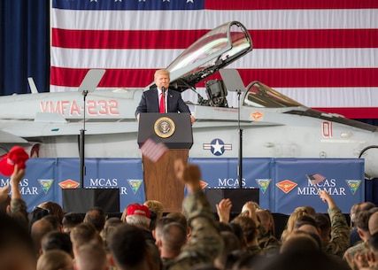President of the United States, Donald J. Trump, speaks at Marine Corps Air Station (MCAS) Miramar, Calif., March 13, 2018. President Trump visited MCAS Miramar during part of a larger trip to California to speak with service members and their families.