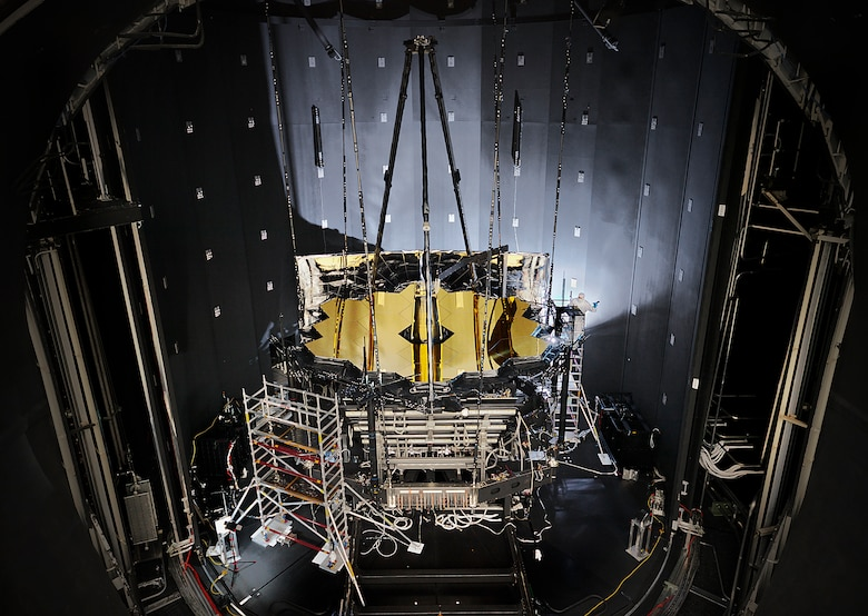 NASA's James Webb Space Telescope sits inside Chamber A at NASA's Johnson Space Center in Houston after completing its cryogenic testing Nov. 18, 2017. This marked the telescope's final cryogenic testing, and it ensured the observatory is ready for the frigid, airless environment of space. The telescope's shipping container, known as the Space Telescope Transporter for Air, Road and Sea (STTARS), was certified safe for flight by the Air Force Life Cycle Management Center's Air Transportability Test Loading Activity May 15, 2014. (NASA photo/Chris Gunn)