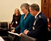 Secretary of the Air Force Heather Wilson and Air Force Chief of Staff Gen. David L. Goldfein prepare to testify before the U.S. House of Representatives Committee on Appropriations about the Air Force's fiscal year 2019 budget March 14, 2018, in Washington, D.C. (U.S. Air Force photo by Wayne Clark)