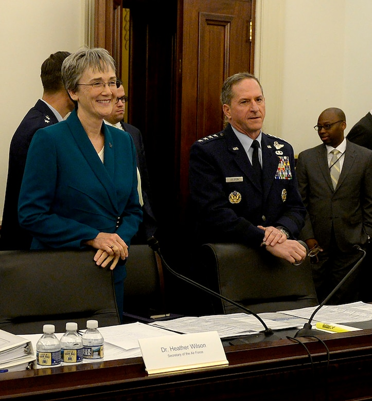 Secretary of the Air Force Heather Wilson and Air Force Chief of Staff Gen. David L. Goldfein prepare to testify before the U.S. House of Representatives Committee on Appropriations about the Air Force's fiscal year 2019 budget March 14, 2018, in Washington, D.C. (U.S. Air Force photo by Staff Sgt. Rusty Frank)