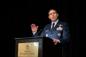 Air Force Brig. Gen. David A. Krumm, the Joint Staff's deputy director for requirements, speaks during the JEDI Cloud Industry Day in Arlington, Va.