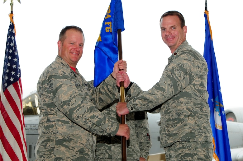 Major Bobby Cheek assumes command of the 924th Aircraft Maintenance Squadron from Colonel Thomas C. McNurlin, 924th Fighter Group commander, on Davis-Monthan Air Force Base, Tucson, Ariz., March 11, 2018.