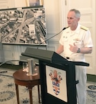 Vice Adm. Phil Sawyer, Commander, U.S. 7th Fleet, delivers remarks during a ceremony commemorating the 75th anniversary of 7th Fleet. Seventh Fleet was founded March 15, 1943 in Brisbane.