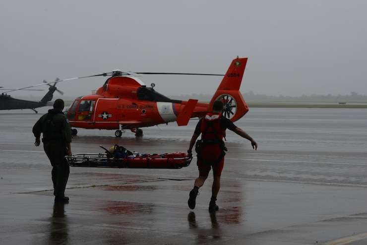 The Coast Guard responds to search and rescue requests in response to Hurricane Harvey in greater Houston Metro Area Aug.