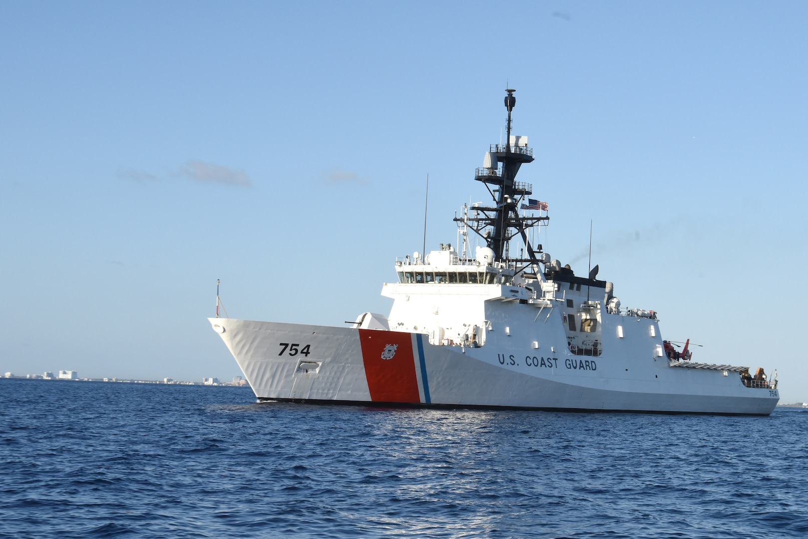 The U.S. Coast Guard Cutter James transits the Atlantic Ocean March 29, 2017.