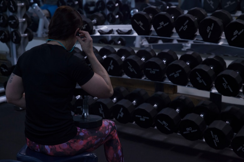 Staff Sgt. Cary Chase rests during a workout in the gym aboard the USS Bonhomme Richard (LHD 6) while underway in the Pacific Ocean, Aug. 27, 2017. Chase, who is from Bonire, Georgia, is the disbursing chief of the 31st Marine Expeditionary Unit's Combat Logistics Battalion 31. The 31st MEU partners with the Navy's Amphibious Squadron 11 to form the Bonhomme Richard Expeditionary Strike Group, providing a cohesive blue-green team capable of accomplishing a variety of missions across the Indo-Asia-Pacific region.
