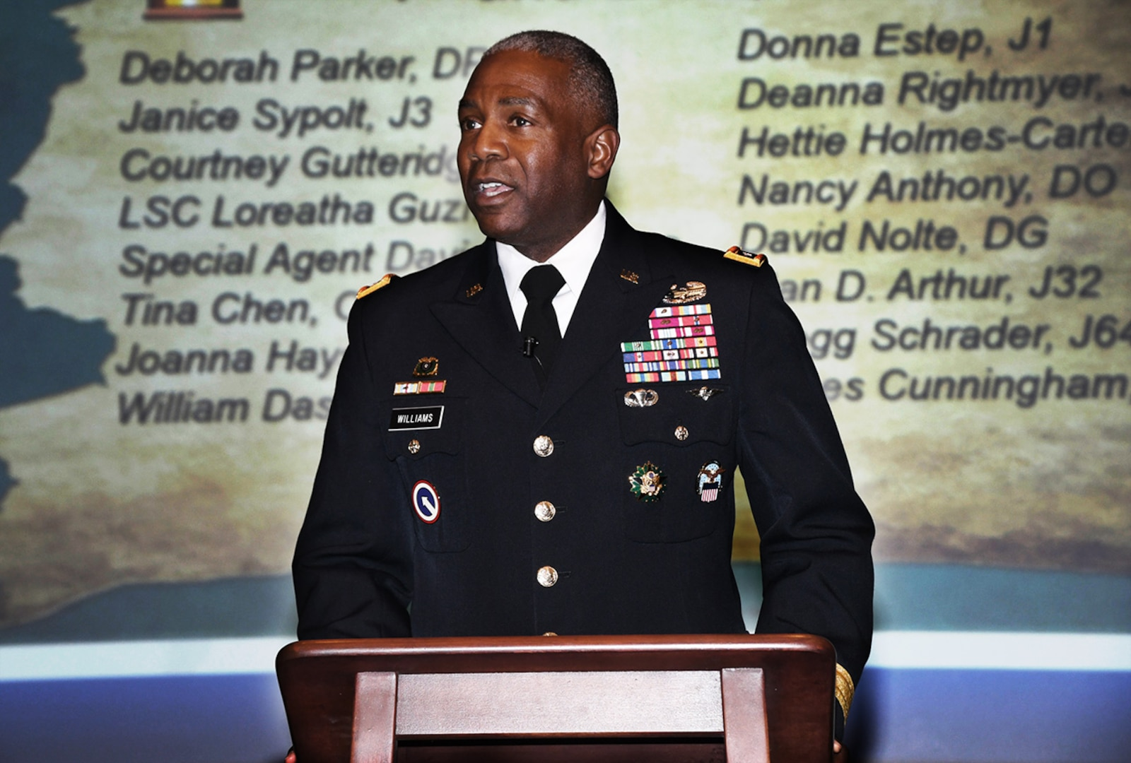 DLA Director Army Lt. Gen. Darrell Williams describes employees' 'indispensable' support to warfighters during a town hall at McNamara Headquarters Complex March 7.