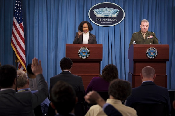 Dana W. White, chief Pentagon spokesperson, and Marine Corps Lt. Gen. Kenneth F. McKenzie, the Joint Staff director, brief reporters at the Pentagon, March 15, 2018. DoD photo by Navy Petty Officer 1st Class Kathryn E. Holm
