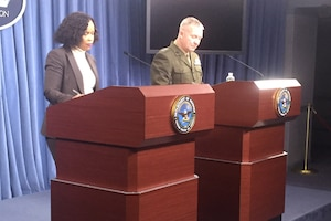 Chief Pentagon spokesperson Dana W. White and Marine Corps Lt. Gen. Kenneth M. McKenzie Jr., the Joint Staff director, answer reporters' questions during a news conference at the Pentagon.