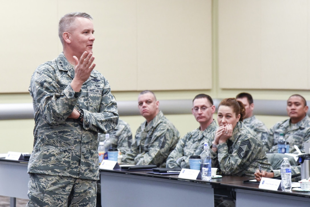 Thirty-nine of the national capital region's newest eight-stripers and selects gathered at the Gen. Jacob E. Smart Center here March 12 for the 2018 Air Force District of Washington Chiefs' Orientation Course.