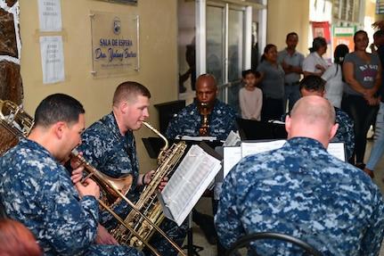 Navy musicians perform in Honduras.
