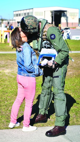 A Marine says goodbye to a loved one before leaving for a deployment aboard Marine Corps Air Station Beaufort, March 9.