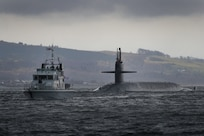 The U.S. Navy ballistic missile submarine USS Maryland (SSBN 738) arrives at Her Majesty's Naval Base Clyde, Scotland (Faslane), March 16, 2018.  The port visit strengthens cooperation between the United States and the United Kingdom, and demonstrates U.S. capability, flexibility, and continuing commitment to its NATO allies.  The Maryland, homeported in Kings Bay, Ga., is an Ohio-class ballistic missile submarine.  It is an undetectable launch platform for intercontinental ballistic missiles, providing the United States with its most survivable leg of the nuclear triad.