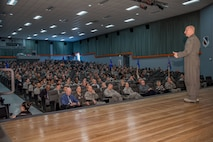 Brig. Gen. Carl Schaefer, 412th Test Wing commander, held his first commander's calls of 2018 in the base theater March 13. Two sessions were held with one in the morning the other in the afternoon. (U.S. Air Force photo by Matt Williams)