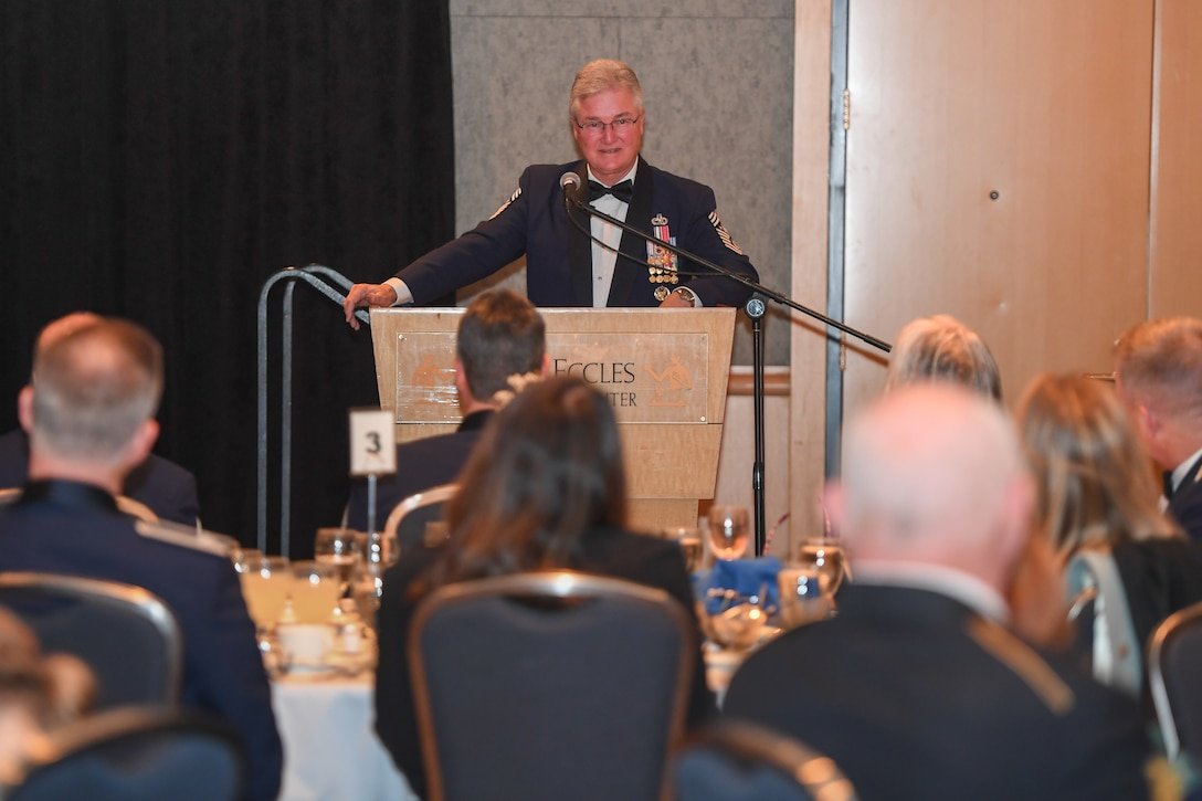Retired Chief Master Sgt. Gerald Murray, the 14th Chief Master Sergeant of the Air Force, served as the guest speaker at the Hill Air Force Base Chief Master Sergeant Recognition Ceremony held March 10, 2018, at the Ogden Eccles Conference Center. (U.S. Air Force photo by Cynthia Griggs)