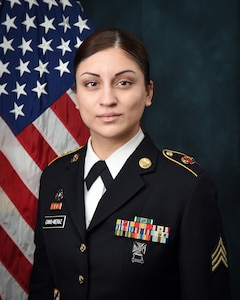 U.S. Army Reserve Sgt. Maribel Cano-Meraz is a first-generation born U.S. citizen, of Mexican descent, who grew up in Chicago in the communities of Hermosa and Humboldt Park.